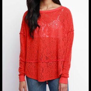 Free people red not cold in this top lace xs